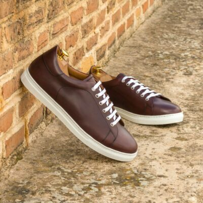 Custom Made Men's Cupsole Trainers in Burgundy Painted Calf