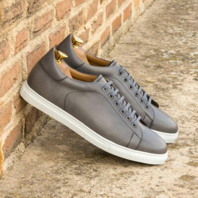Custom Made Men's Cupsole Trainers in Grey Painted Calf