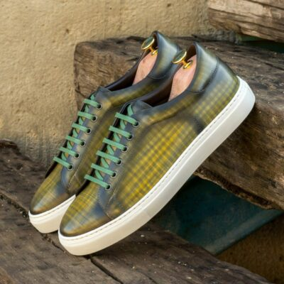 Custom Made Men's Cupsole Trainers in Italian Calf Leather with a Khaki Hand Patina Finish