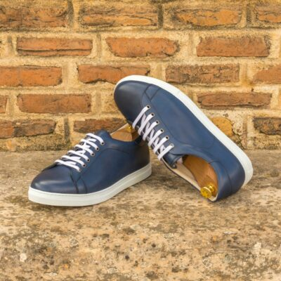 Custom Made Men's Cupsole Trainers in Navy Blue Painted Calf