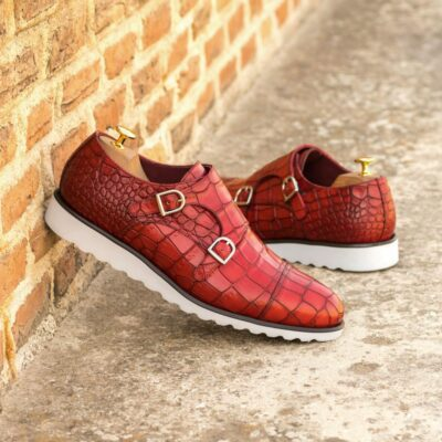 Custom Made Men's Double Monk in Red Painted Croco Embossed Calf