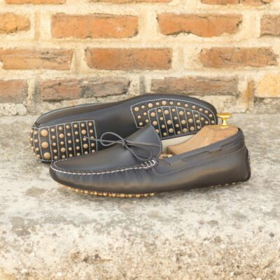 Custom Made Men's Driving Loafer in Burnished Grey Painted Calf