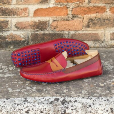 Custom Made Men's Driving Loafer in Red, Medium Brown and Cognac Painted Calf Leather