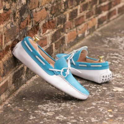 Custom Made Men's Driving Loafer in White and Turquoise Suede