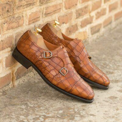 Custom Made Men's Goodyear Welt Double Monk in Cognac Painted Croco Embossed Calf