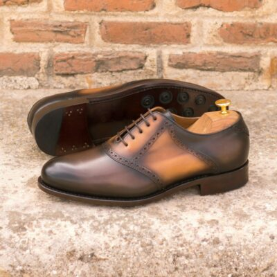 Custom Made Men's Goodyear Welt Saddle Shoes in Burnished Dark Brown and Cognac Painted Calf