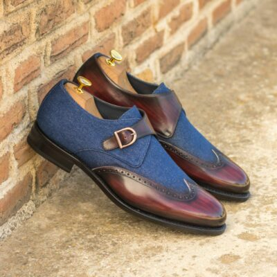 Custom Made Men's Goodyear Welt Single Monks in Italian Calf Leather with a Burgundy Hand Patina and Denim Jeans