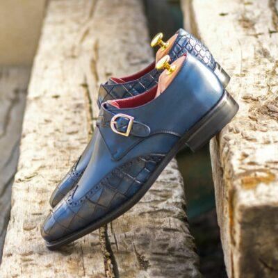 Custom Made Men's Goodyear Welt Single Monks in Navy Blue Painted Calf and Navy Blue Painted Croco