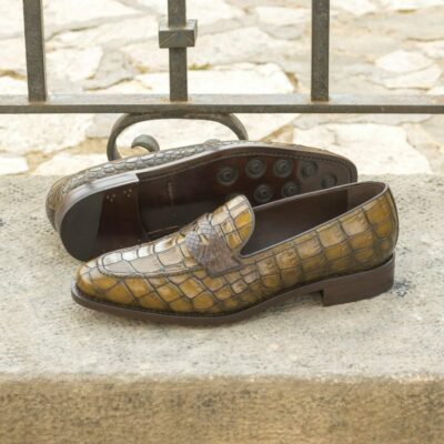 Custom Made Men's Goodyear Welted Mask Loafers in Olive Painted Croco Embossed Calf and Dark Brown Genuine Python