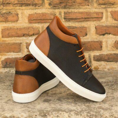 Custom Made Men's High Top in Black and Cognac Pebble Grain with Nailhead Wool