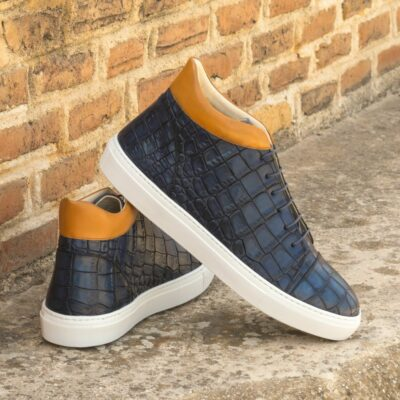 Custom Made Men's High Top in Navy Blue Painted Croco and Cognac Painted Calf