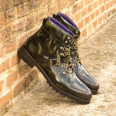 Custom Made Men's Hiking Boot in Florantic Military Green Polished Calf Leather