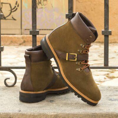 Custom Made Men's Hiking Boot in Khaki Luxe Suede with Dark Brown Pebble Grain