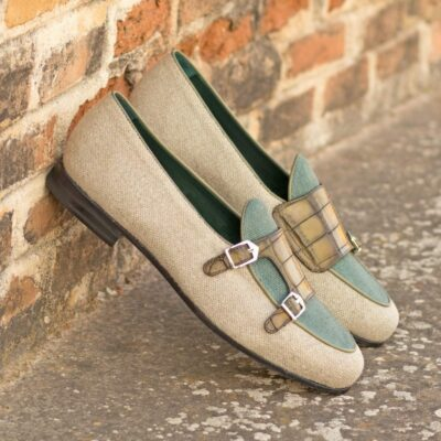 Custom Made Men's Monk Slipper in Ice and Khaki Linen with Olive Painted Croco Embossed Calf