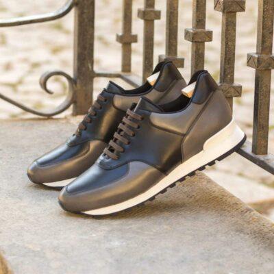Custom Made Men's Sneaker in Black Box Calf and Grey Painted Calf