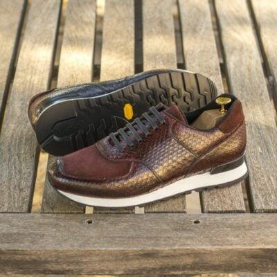 Custom Made Men's Sneaker in Burgundy Genuine Python with Burgundy Luxe Suede