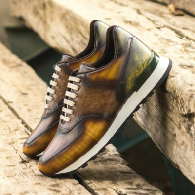Custom Made Men's Sneaker in Italian Calf Leather with a Cognac, Brown and Khaki Hand Patina