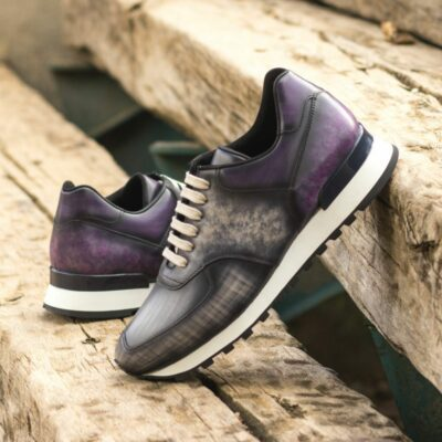 Custom Made Men's Sneaker in Italian Calf Leather with a Purple and Grey Hand Patina
