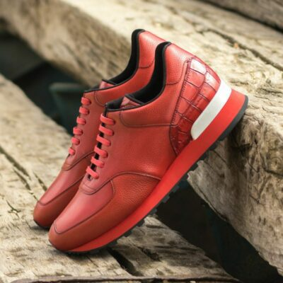 Custom Made Men's Sneaker in Red Painted Full Grain Leather and Red Painted Croco