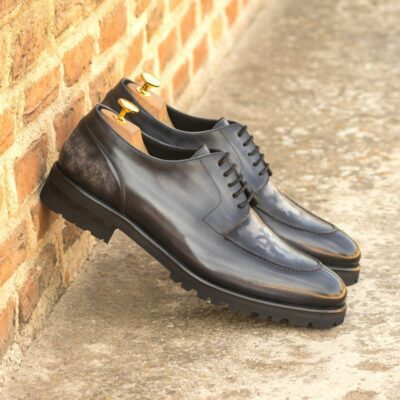 Custom Made Men's Split Toe Derby in Italian Calf Leather with a Grey Hand Patina