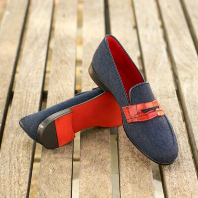 Custom Made Men's Wellington Slipper in Denim Jeans and Red Painted Croco