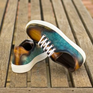 Custom Made Women's Tennis Shoe in Italian Calf Leather with a Turquoise, Cognac and Khaki Hand Patina