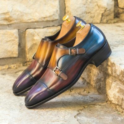 Custom Made Goodyear Welt Double Monks in Italian Calf Leather with a Multi Color Hand Patina Finish