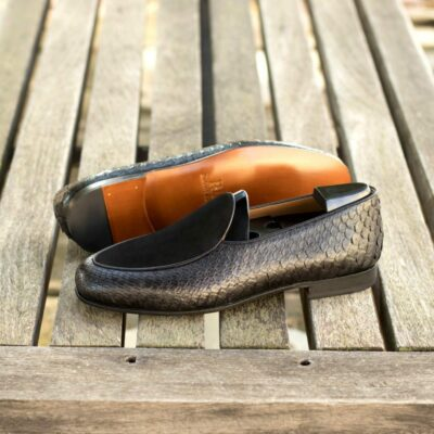 Custom Made Men's Belgian Slipper in Black Genuine Python with Black Suede