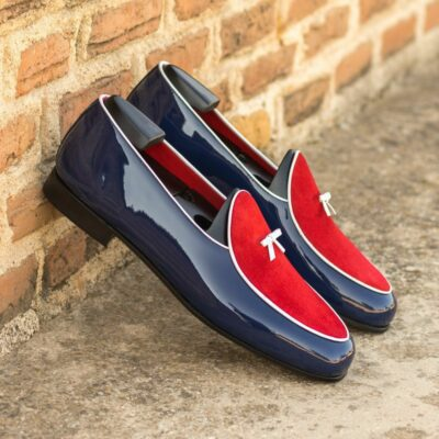 Custom Made Men's Belgian Slipper in Cobalt Blue Patent Leather and Red Suede