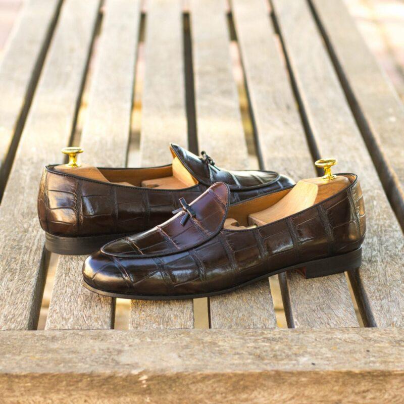 Custom Made Men's Belgian Slipper in Dark Brown Genuine Alligator