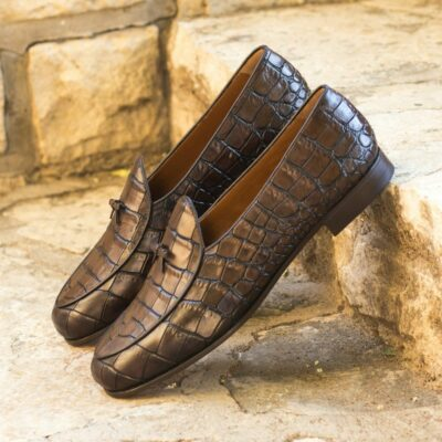 Custom Made Men's Belgian Slipper in Dark Brown Painted Croco