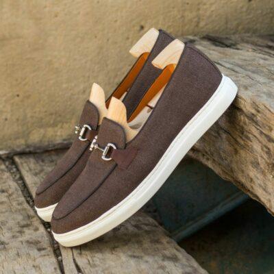 Custom Made Men's Belgian Sneaker in Brown Linen