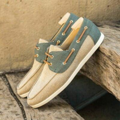 Custom Made Men's Boat Shoe in Ice and Khaki Linen