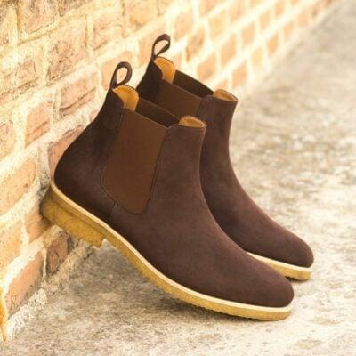 Custom Made Men's Chelsea Boot Classic in Brown Kid Suede