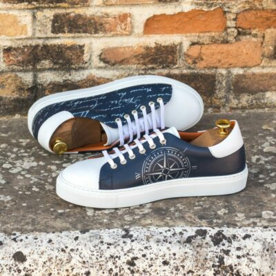 Custom Made Men's Cupsole Trainer in Navy Blue and White Box Calf with Stencil Art