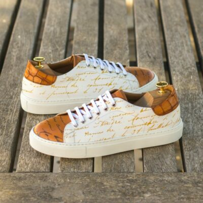 Custom Made Men's Cupsole Trainer in White Box Calf, Cognac Painted Calf and Medium Brown Croco with Stencil Art
