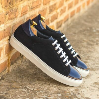 Custom Made Men's Cupsole Trainers in Navy Blue Luxe Suede with Cobalt Blue Patent Leather