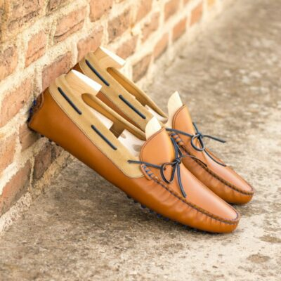 Custom Made Men's Driving Loafer in Cognac Painted Calf and Camel Suede