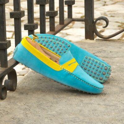 Custom Made Men's Driving Loafer in Turquoise and Yellow Suede