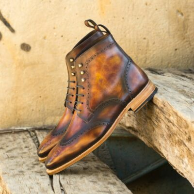 Custom Made Men's Goodyear Welt Military Brogue Boot in Italian Calf Leather with a Fire Museum Hand Patina