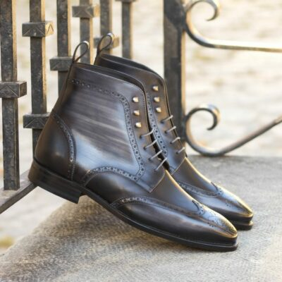 Custom Made Men's Goodyear Welt Military Brogue Boot in Italian Calf Leather with a Grey Hand Patina and Black Box Calf