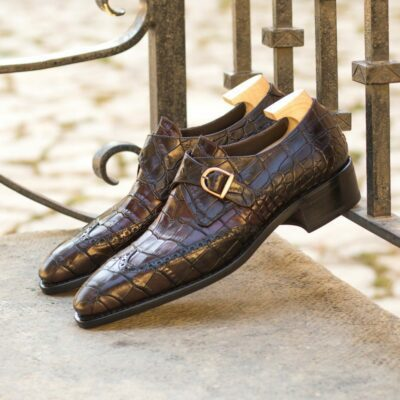 Custom Made Men's Goodyear Welted Single Monk in Dark Brown and Burgundy Painted Croco Embossed Calf Leather