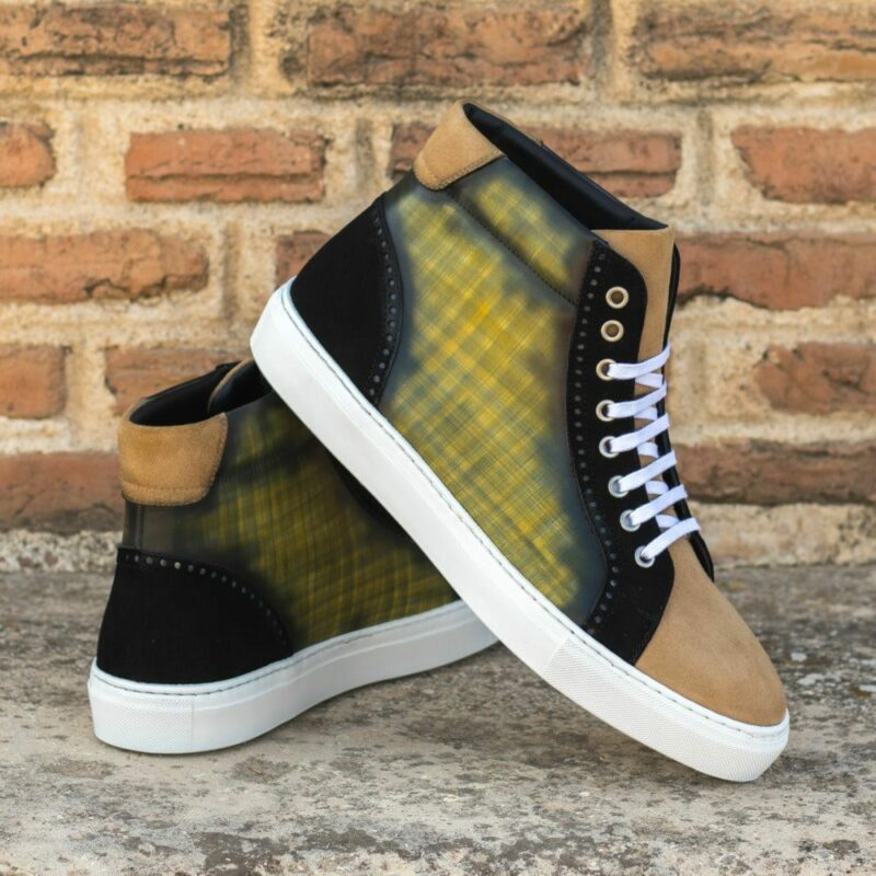 Custom Made Men's High Kick in Italian Calf Leather with a Khaki Hand Patina Finish