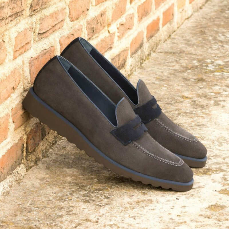 Custom Made Men's Loafers in Grey and Navy Blue Luxe Suede
