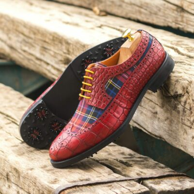 Custom Made Men's Longwing Blucher Golf Shoe in Red Painted Croco and Tartan with Softspikes®