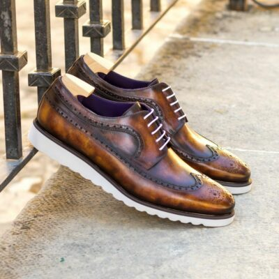 Custom Made Men's Longwing Blucher in Italian Calf Leather with a Fire Hand Patina