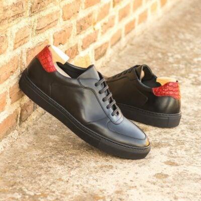 Custom Made Men's Low Top Trainer in Black Box Calf and Red Painted Croco Embossed Calf