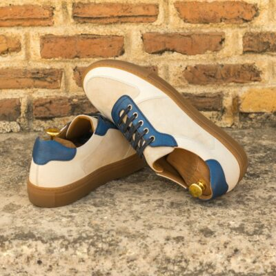 Custom Made Men's Low Top Trainer in Ivory Kid Suede with Nude and Navy Blue Full Grain Leather