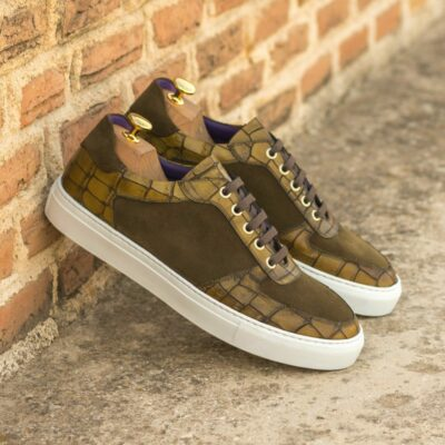 Custom Made Men's Low Top Trainer in Olive Painted Croco and Khaki Luxe Suede