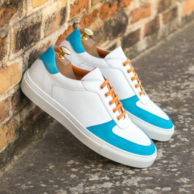 Custom Made Men's Low Top Trainer in White Box Calf with Turquoise Kid Suede